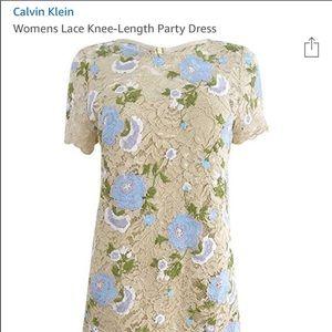 Calvin Klein Lace Dress Beige Floral Short Sleeve